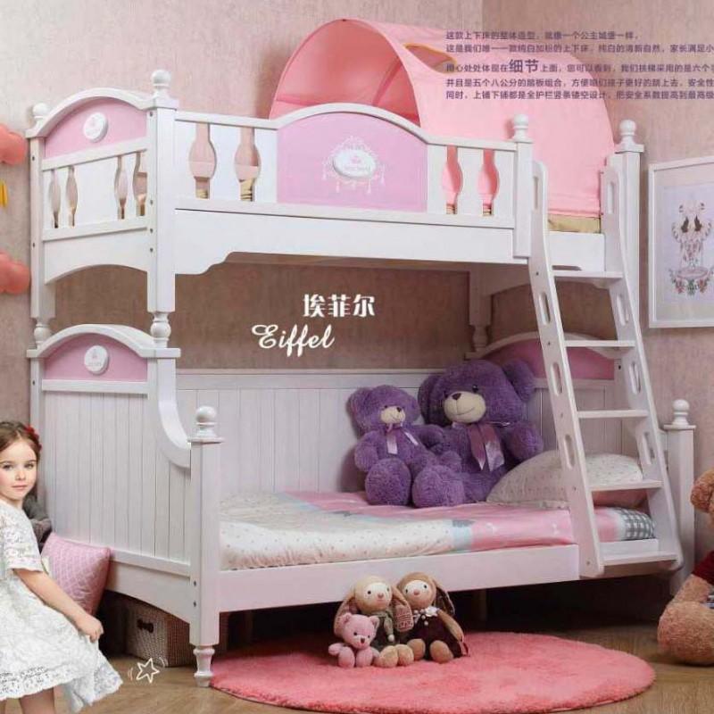 洛可小城儿童实木家具套房桃花芯木系列上下床双层床带扶梯FS73