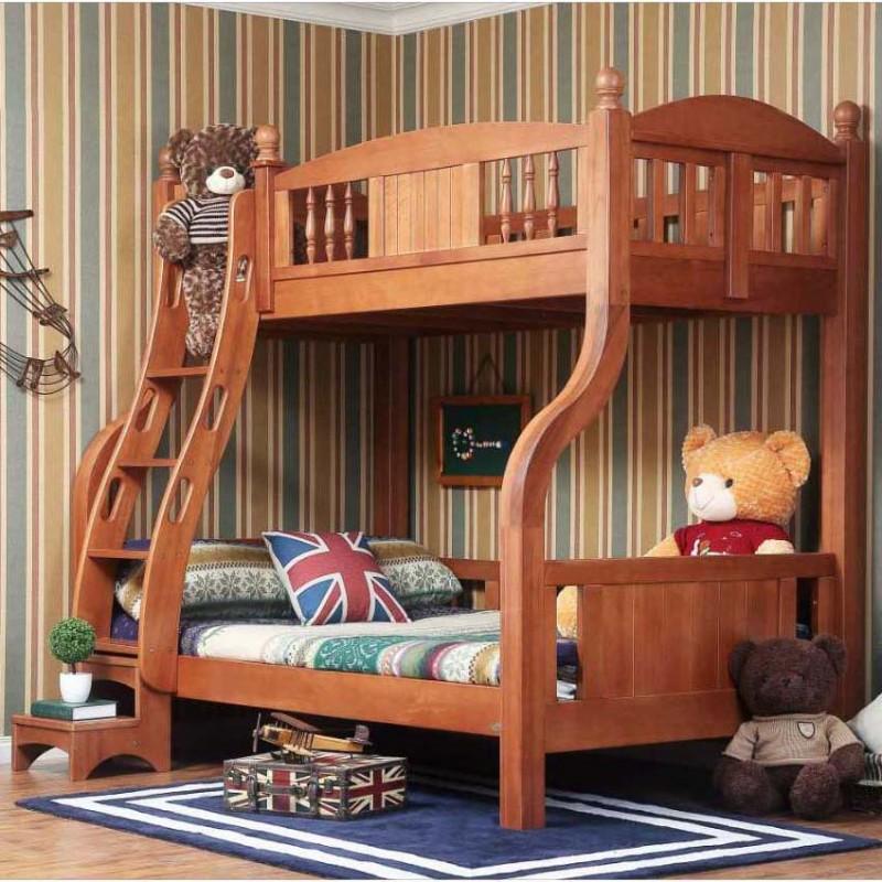 洛可小城儿童实木家具套房桃花芯木系列上下床双层床带扶梯FS75