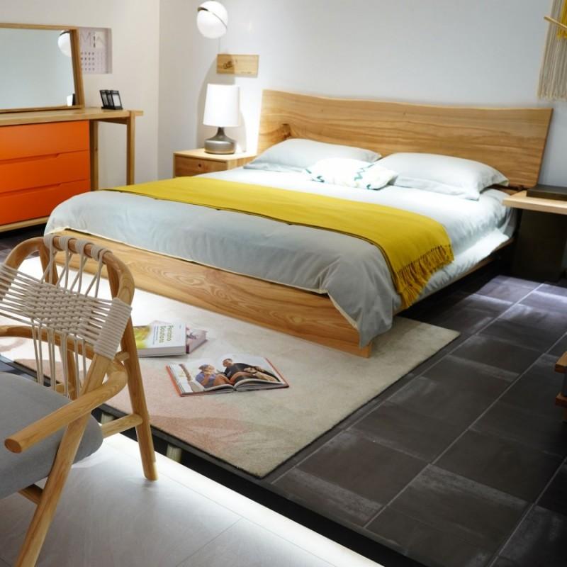 沐璨北欧风实木家具卧室实木大床床头柜梳妆台休闲椅8106休闲几5301