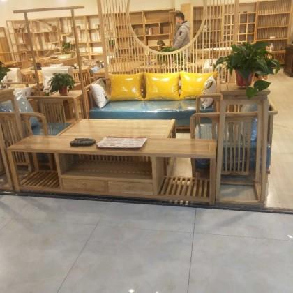 免漆新中式榆木沙发