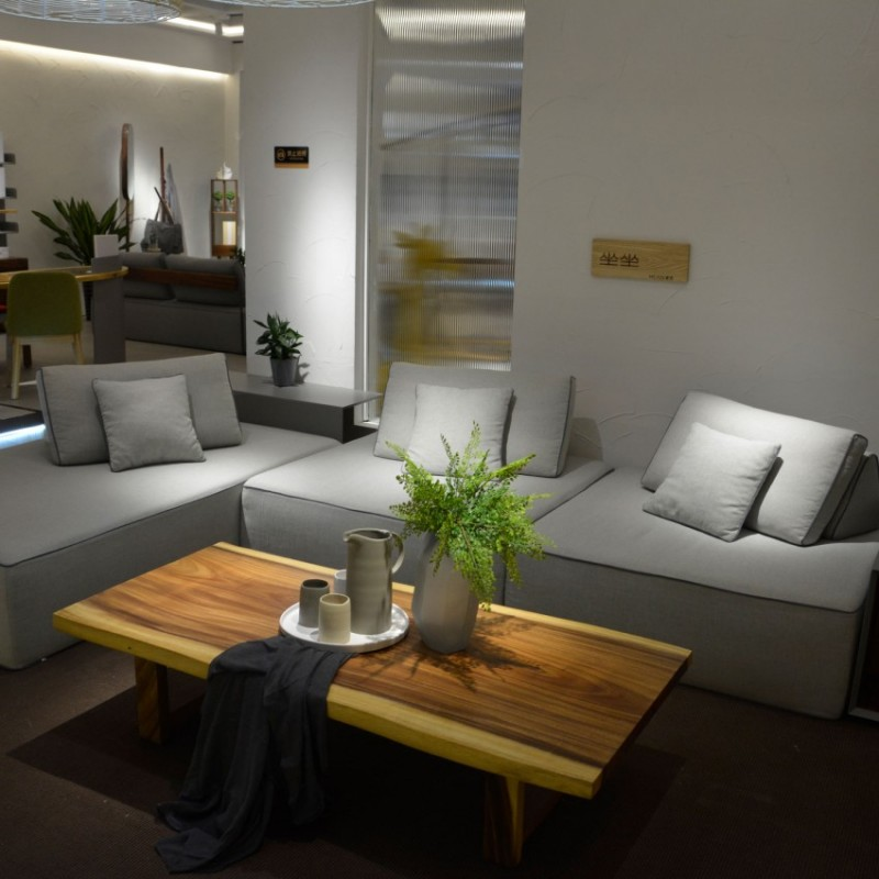沐璨北欧风实木家具客厅沙发套茶几MC5007(1+1+3)沙发+MC5107长茶几