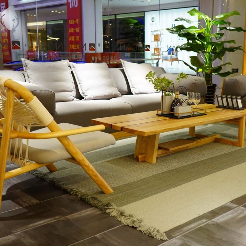 沐璨北欧风实木家具客厅沙发套MC5003-3沙发+MC5102/5103长茶几+MC7003电视柜