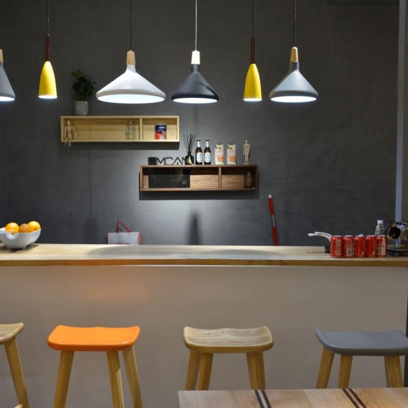 沐璨北欧风实木家具客厅吧台面+凳+吊柜