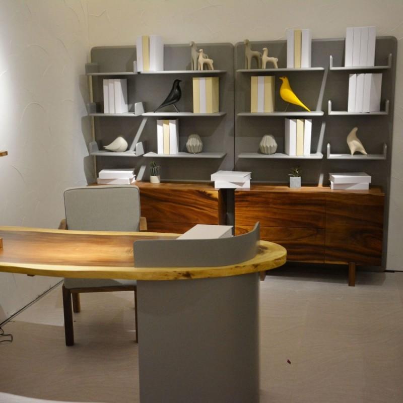 沐璨北欧风实木家具书房书桌椅书柜书架MC4104书桌+MC4006书架+椅8101/8
