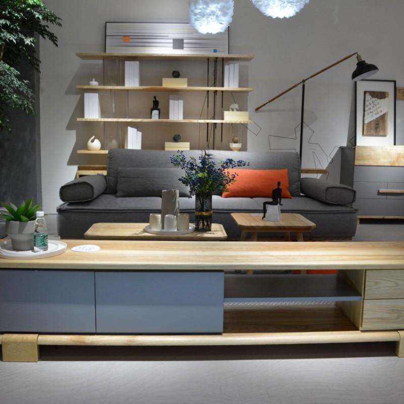 沐璨北欧风实木家具客厅沙发MC5001-2电视柜MC7004+茶几MC5101长茶几+方几