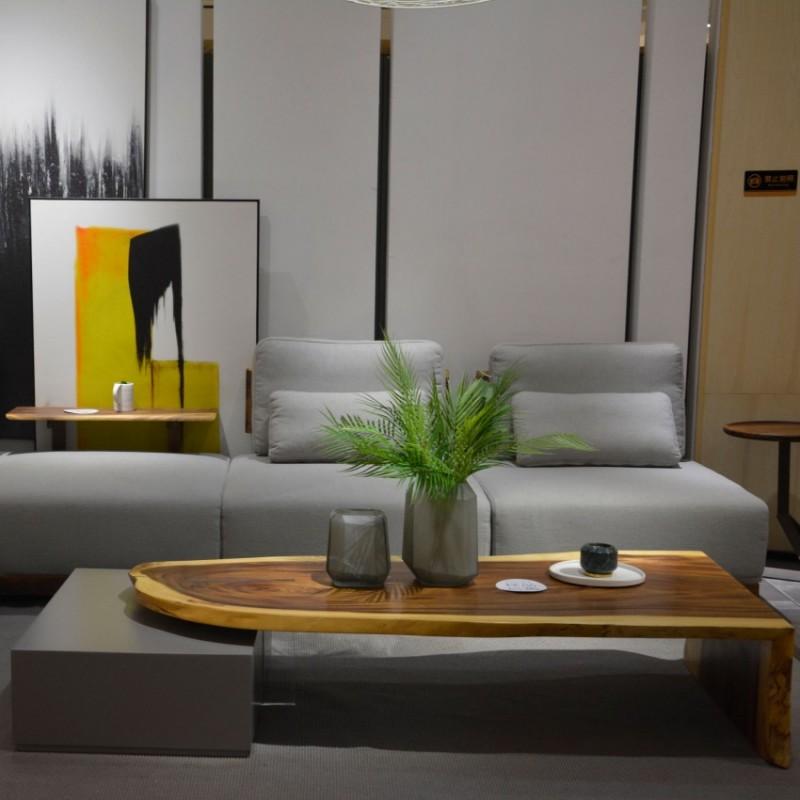 沐璨北欧风实木家具客厅沙发套MC5004沙发+MC5105长茶几+MC5201移动几+MC2102衣帽架