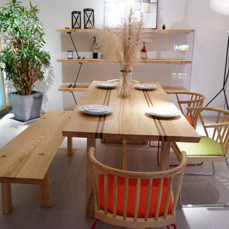 沐璨北欧风实木家具餐厅餐桌椅餐凳