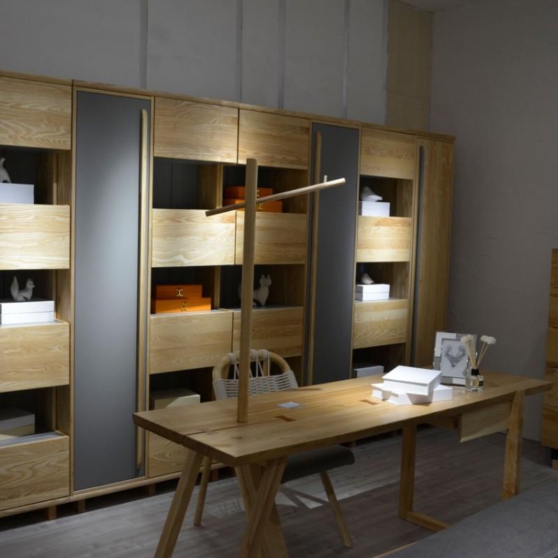 沐璨北欧风实木家具书房书桌椅MC4101+书架MC4009B
