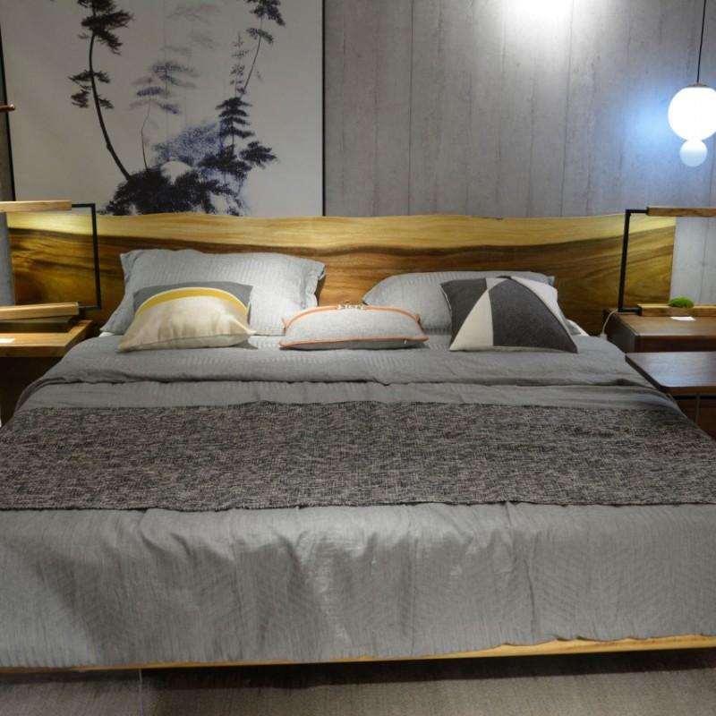 沐璨北欧风实木家具卧房实木大床MC1003床头柜MC1302+MC2001衣柜+布板