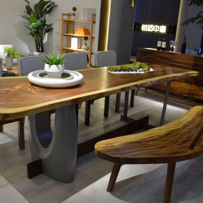 沐璨北欧风实木家具餐厅家具长餐桌MC8005长餐桌