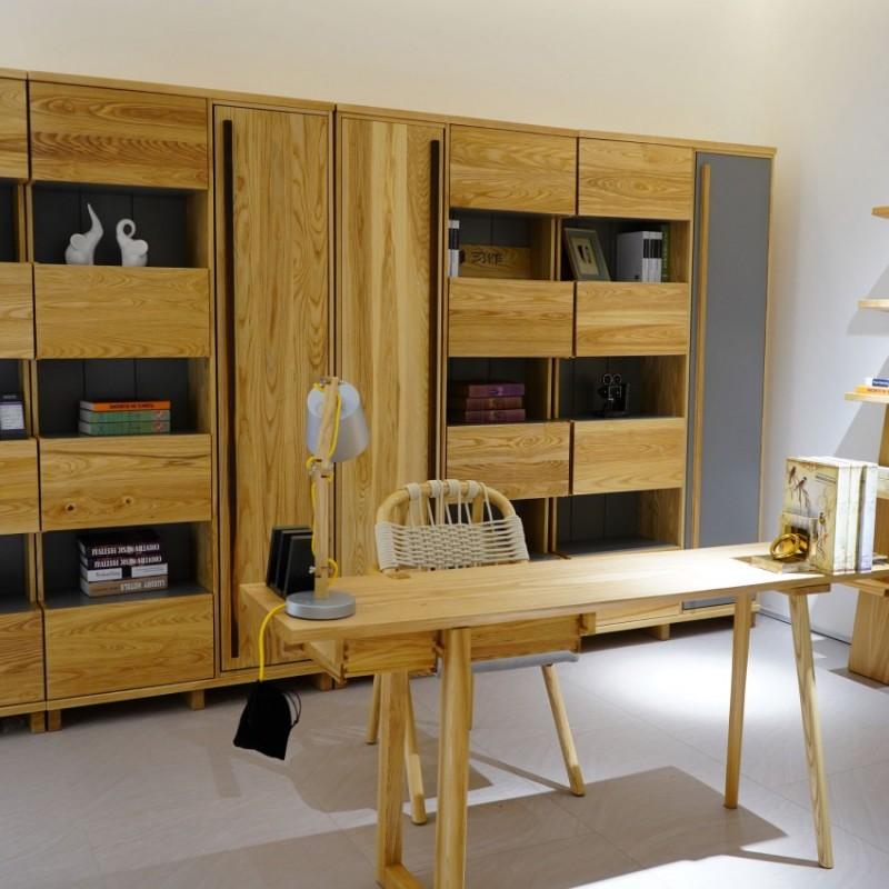 沐璨北欧风实木家具书房套书桌椅书柜书架