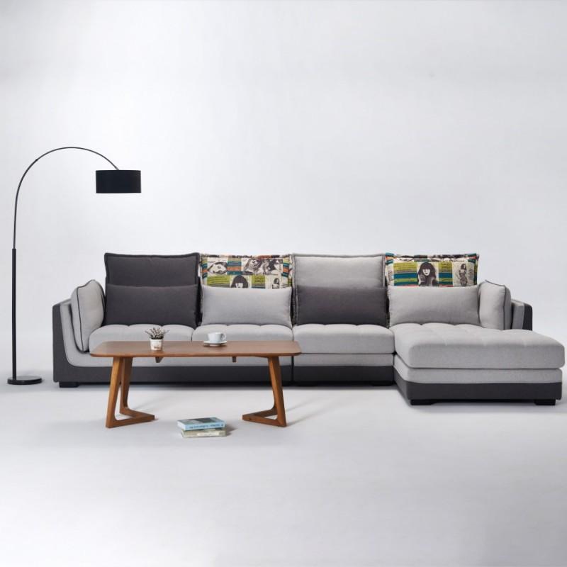 两室一厅软体家具客厅沙发套浅灰色转角沙发