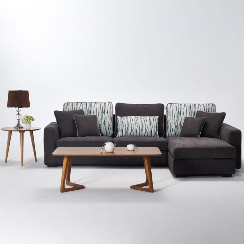 两室一厅软体家具客厅沙发套深色转角沙发