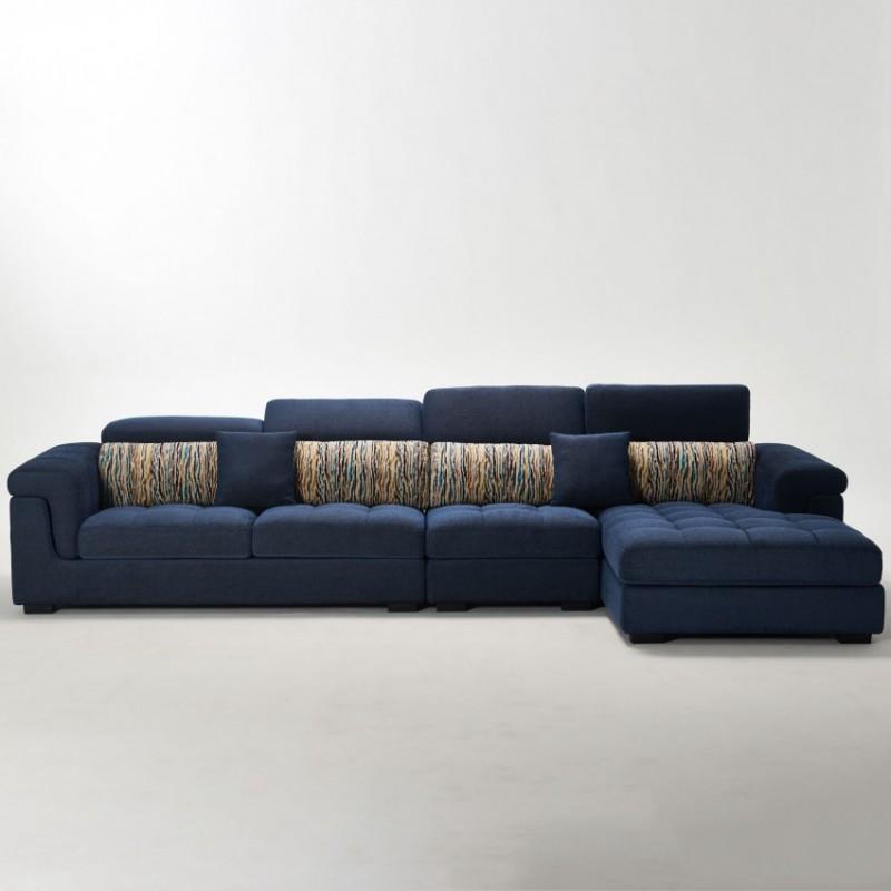 两室一厅软体家具客厅沙发套深蓝色转角沙发