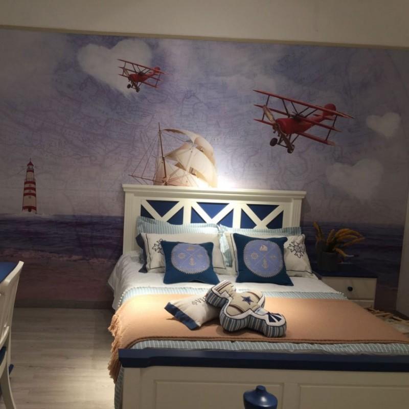 卡默洛特儿童实木套房家具实木蓝色男孩床衣柜学习桌KMA003+KMS003+KME003