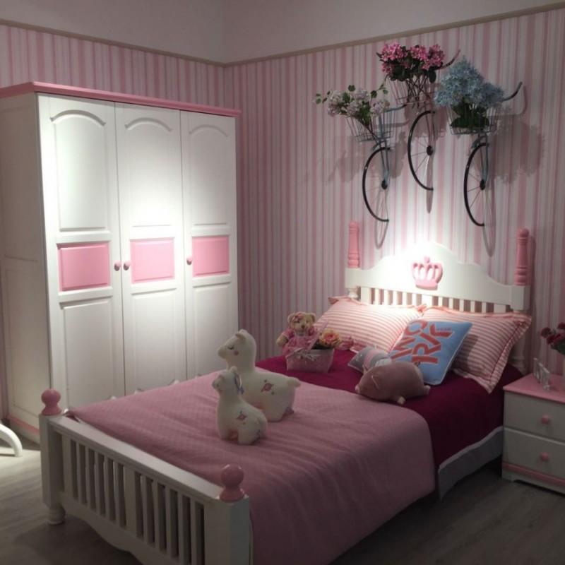 卡默洛特儿童实木套房家具实木床衣柜学习桌KMA007+KME007