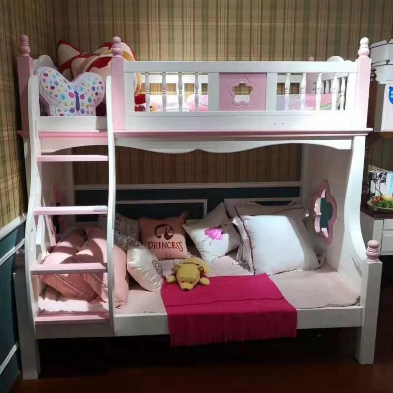 卡默洛特儿童实木套房家具实木床上下双层床扶梯款KMR001