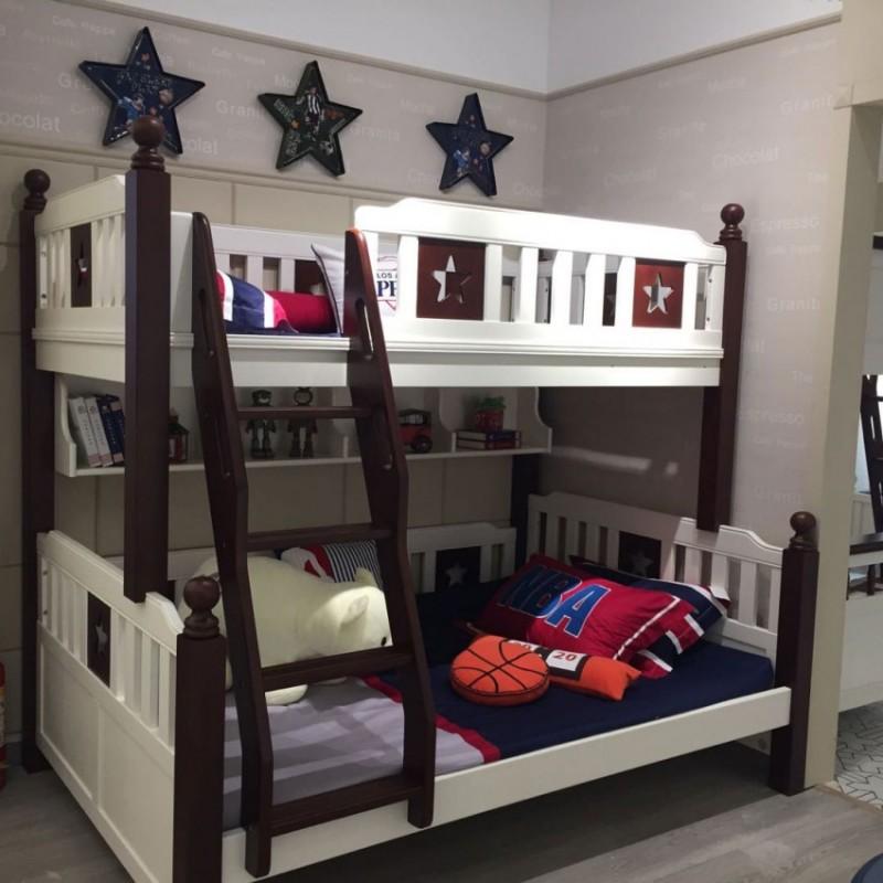卡默洛特儿童实木套房家具实木床上下双层床扶梯款KMR002