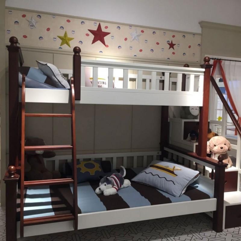 卡默洛特儿童实木套房家具实木床上下双层床扶梯款KMR003