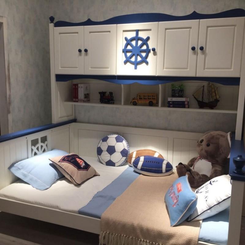 卡默洛特儿童实木套房家具实木床 带书柜KMR005