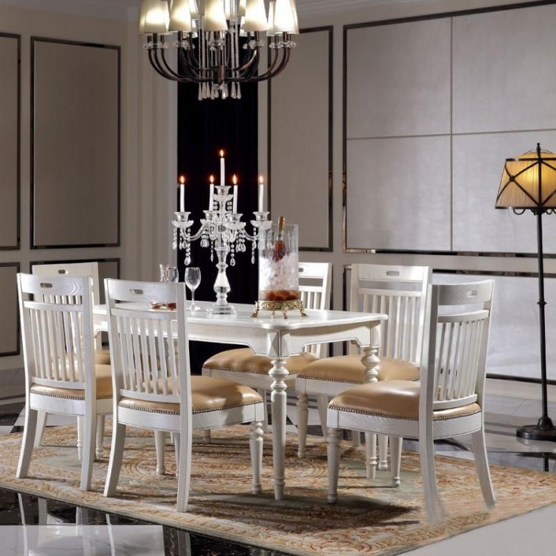 豪森北欧世家餐厅餐桌椅J-701长餐台J-705无扶手餐椅P387皮(A)