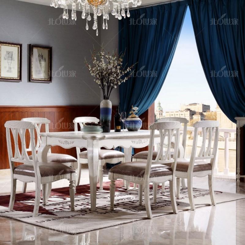 豪森北欧世家餐厅餐桌椅J-705长餐台+701A无扶手餐椅8907皮(A)J-705板凳