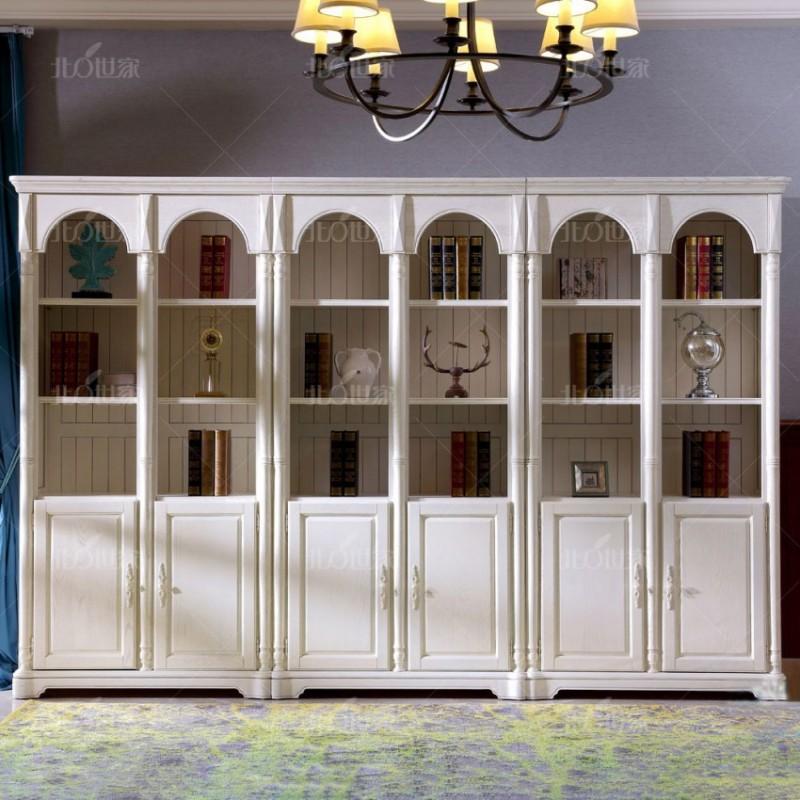 豪森北欧世家实木家具书房书柜书橱书架J-701六门书柜.