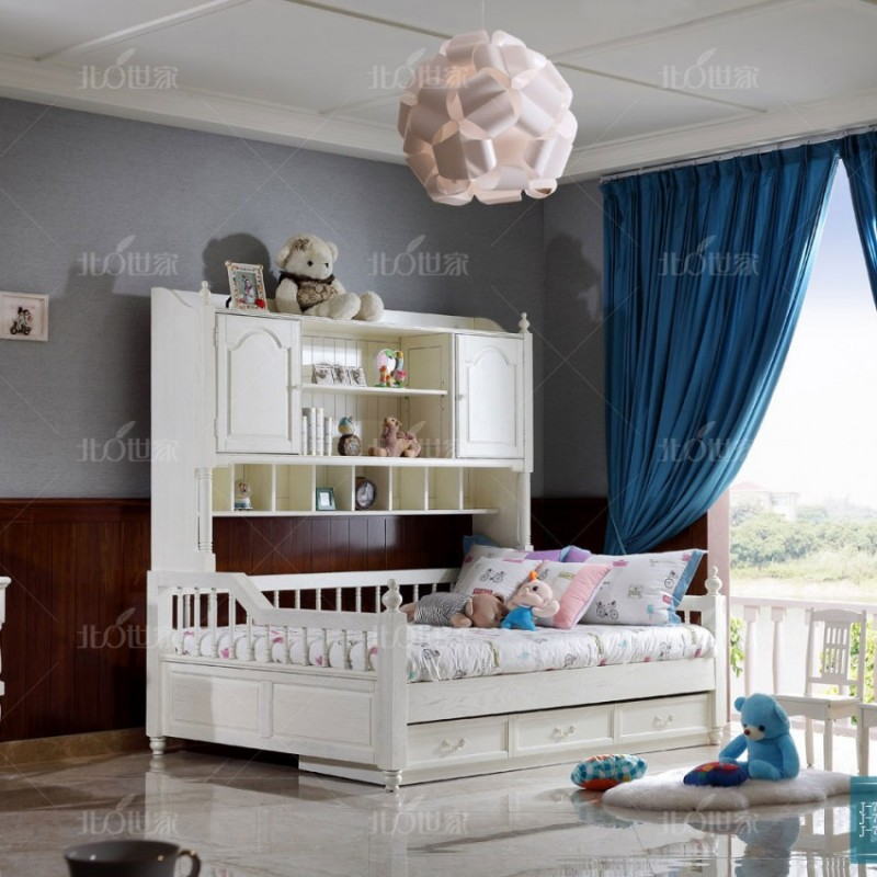豪森北欧世家实木家具卧房套带书架儿童床J-701儿童床