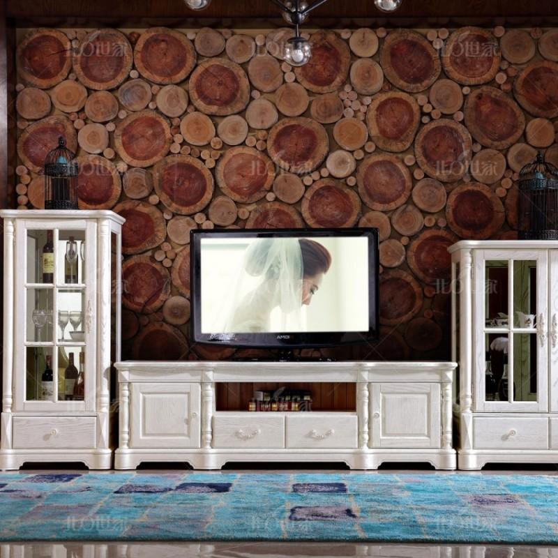 豪森北欧世家实木家具客厅J-701单门酒柜+电视柜+双门酒柜