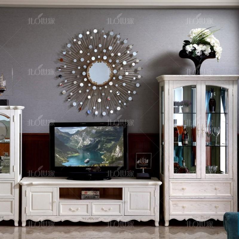 豪森北欧世家实木家具客厅J-705单门酒柜+电视柜+双门酒柜