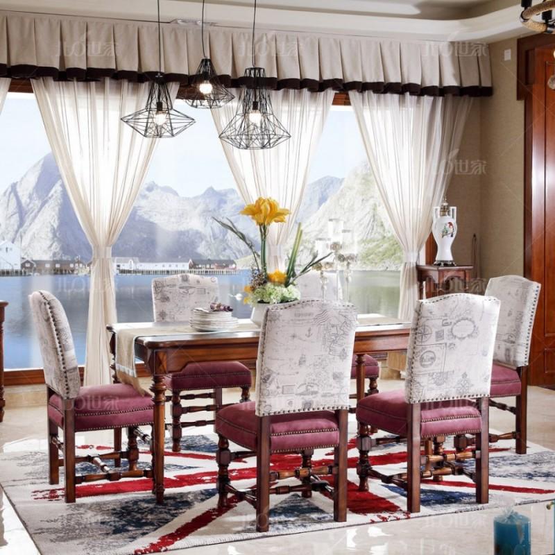 豪森北欧世家实木家具餐厅J-701长餐台+701B无扶手餐椅QK3-5磨砂布+LY-0025-10布