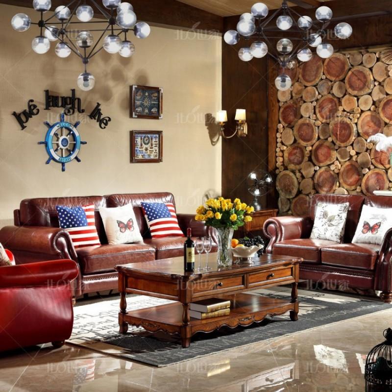 豪森北欧世家实木家具客厅J-705休闲椅1701皮(A)+沙发二位三位0502皮(B)+705长几+J-705方几