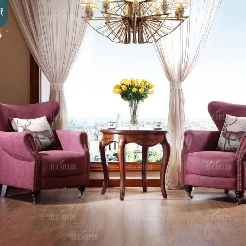 豪森北欧世家实木家具客厅J-706休闲椅QK3-5磨砂布