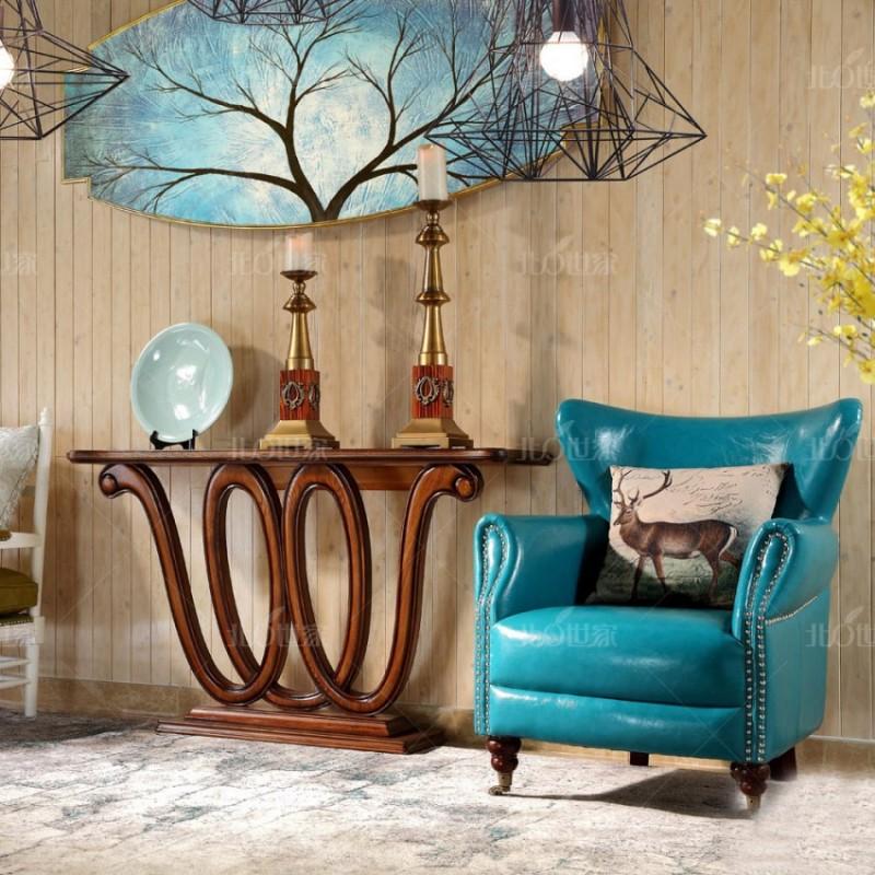 豪森北欧世家实木家具客厅J-710休闲椅6210皮(A)+J-706休闲椅JB018超纤皮(蓝色)+J-701玄关+镜