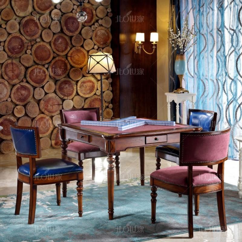 豪森北欧世家实木家具J-701麻将桌+J-701C麻将椅2289皮(A)+QK3-5磨砂布