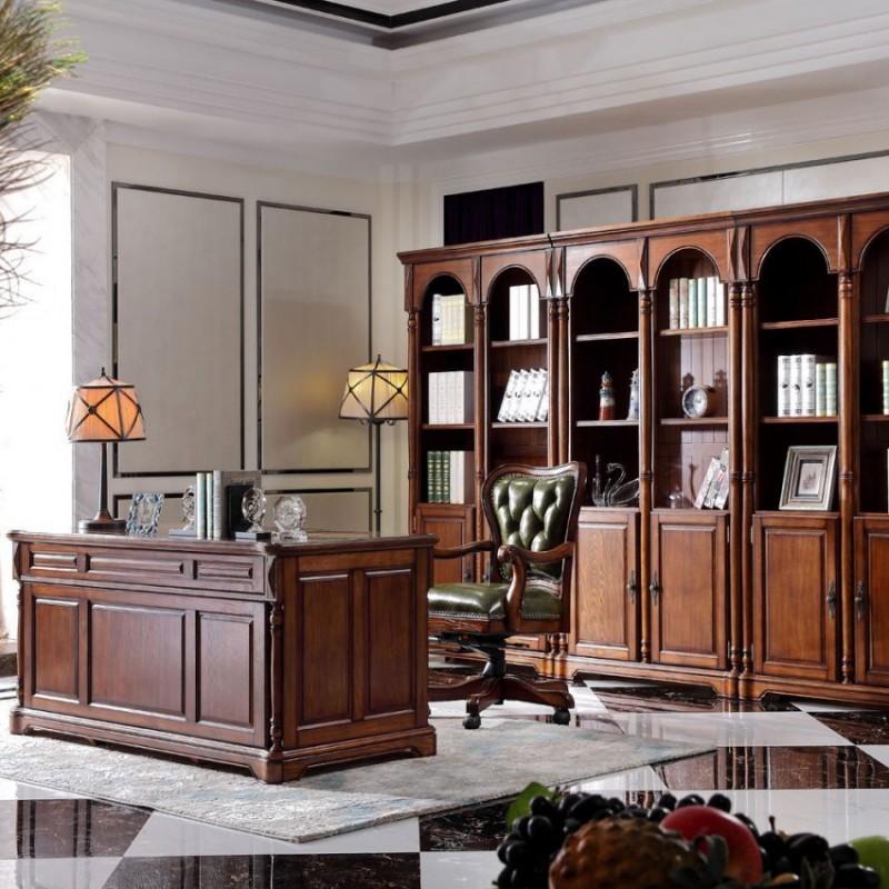 豪森北欧世家实木家具书房套J-701六门书柜.+J-701书桌+J-701书椅0506皮(B)
