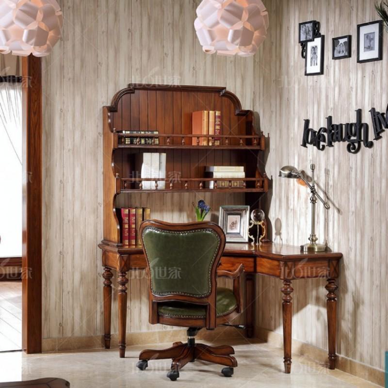 豪森北欧世家实木家具书房套J-701转角书桌+上柜+J-701书椅0506皮(B).