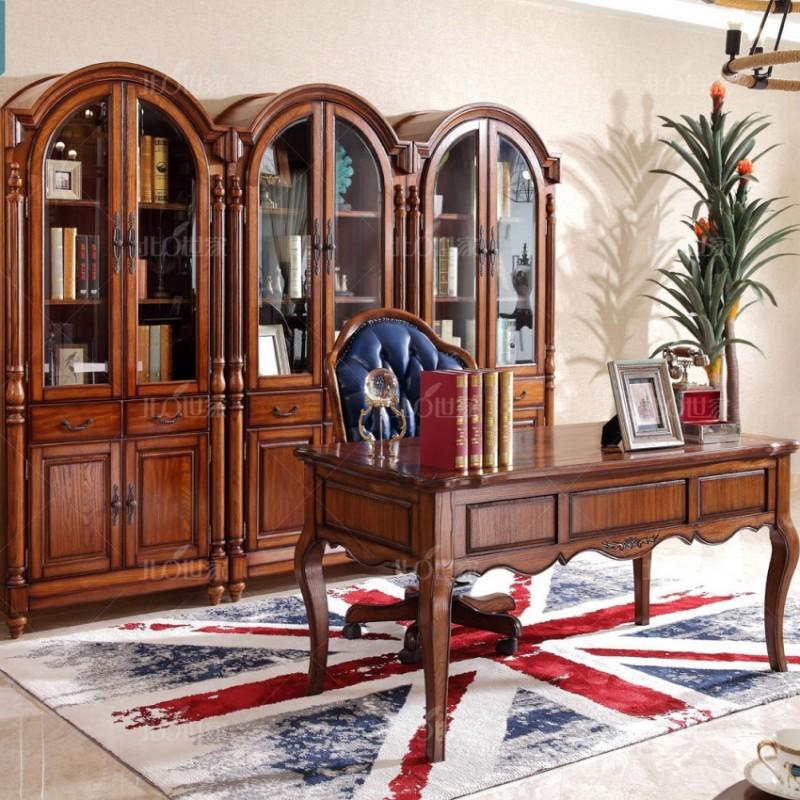 豪森北欧世家实木家具书房套J-702两门书柜3组+J-705书桌+J-702书椅2289皮(A)