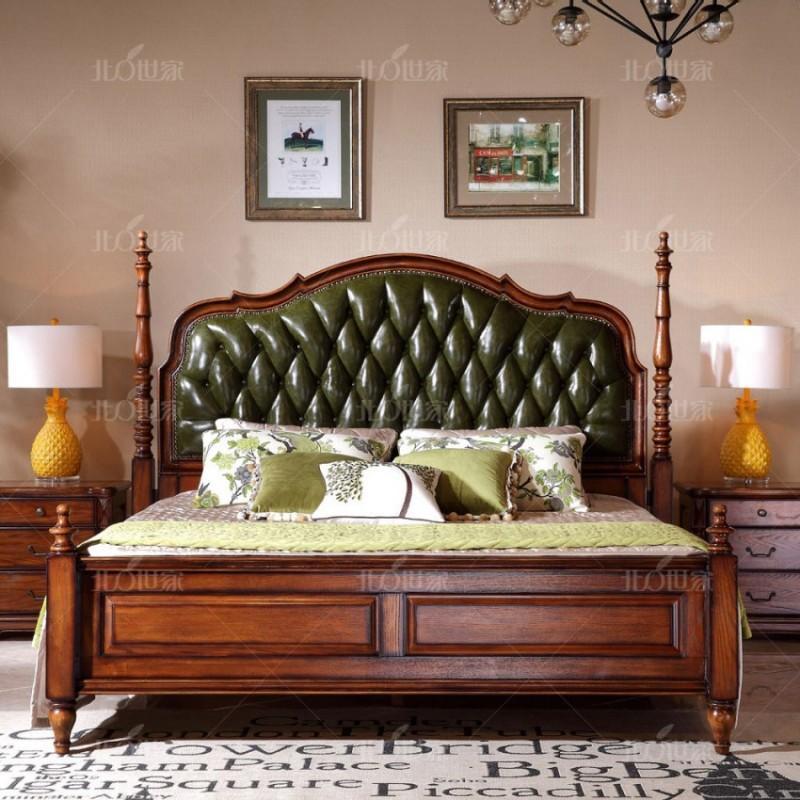 豪森北欧世家实木家具实木大床床头柜J-701A床0506皮(B)+J-701床尾凳0506皮(B)