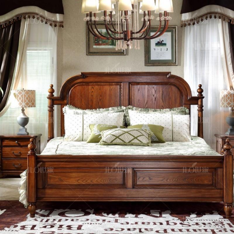 豪森北欧世家实木家具实木大床J-701B床+701床头柜