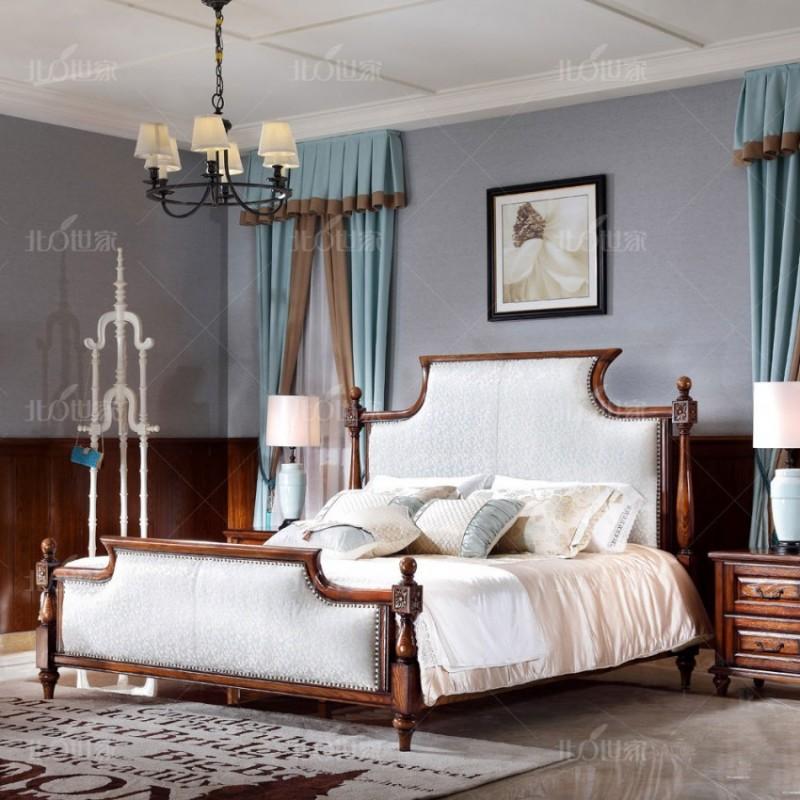 豪森北欧世家实木家具卧室J-703A床H14009A-7花布+701B床头柜