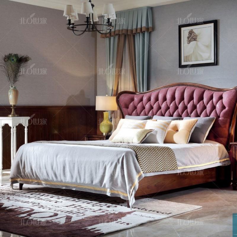 豪森北欧世家实木家具卧室J-703B床QK3-5磨砂布+701B床头柜