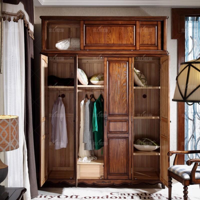 豪森北欧世家实木家具卧室J-705四门衣柜+顶柜