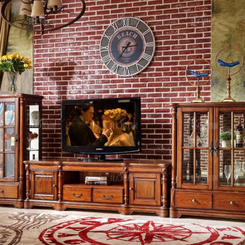 豪森北欧世家客厅电视柜组合柜J-701单门酒柜+电视柜+双门酒柜