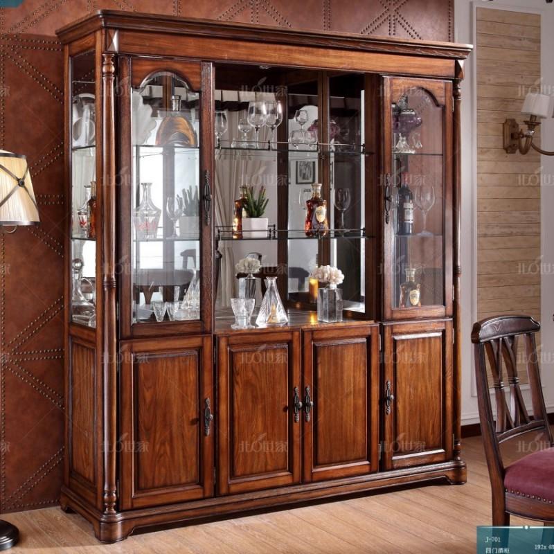 豪森北欧世家实木家具餐厅厅J-701四门酒柜