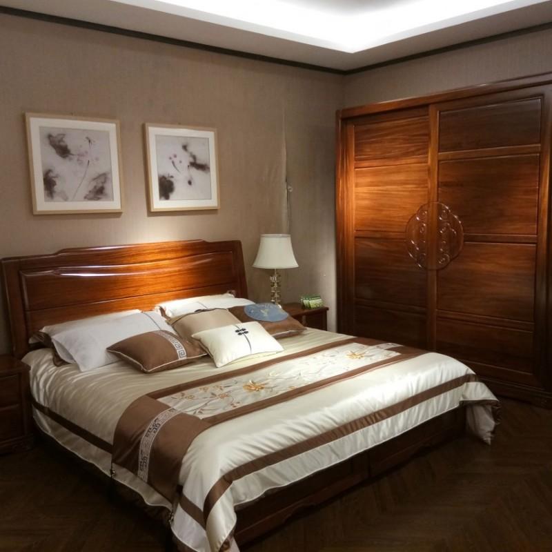 喜之林檀韵实木家具卧房套实木大床推拉衣柜床头柜