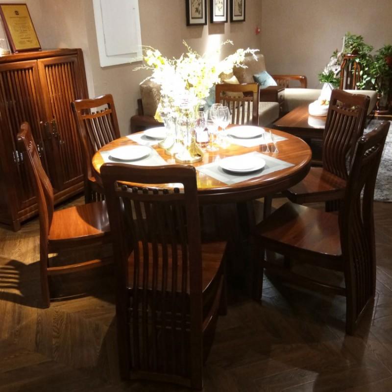 喜之林檀韵实木家具餐厅圆餐台餐椅