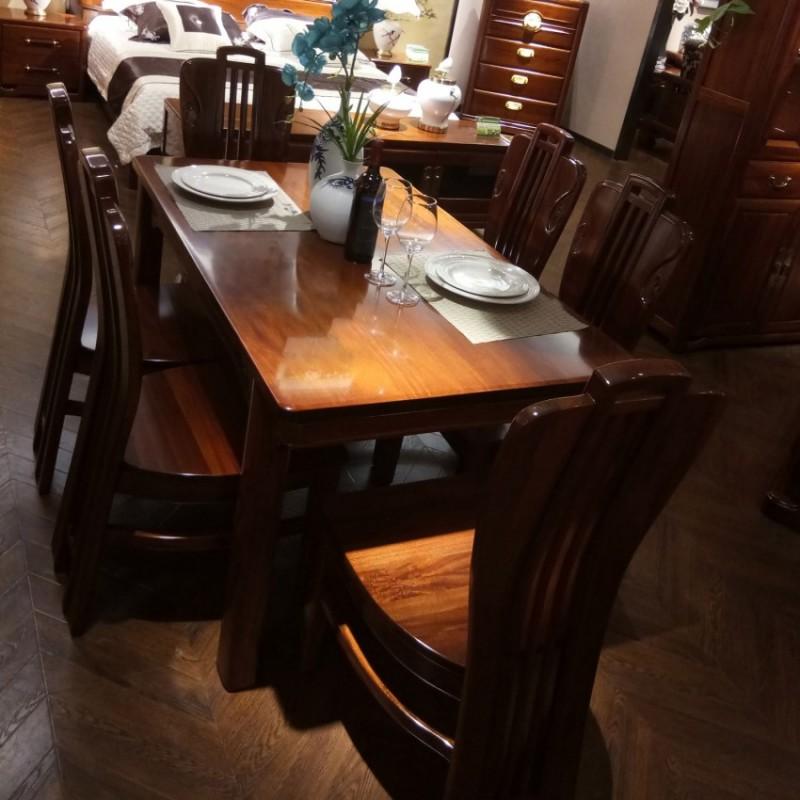 喜之林檀韵实木家具餐厅长餐台餐椅