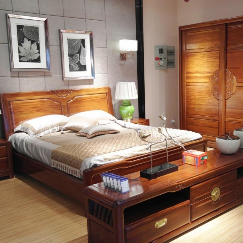 喜之林檀韵实木家具卧房套实木大床推拉衣柜床头柜1