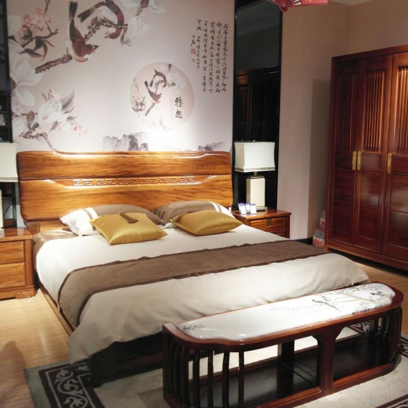 喜之林檀韵实木家具卧房套实木大床衣柜床头柜床尾凳
